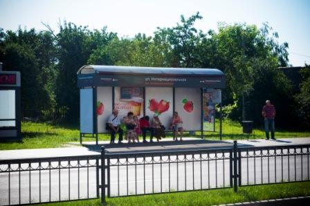 Пример рекламы на остановочном пункте